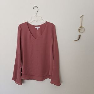LC mauve bell sleeve blouse